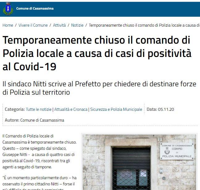Casamassima chiuso il comando di Polizia locale per Covid-19